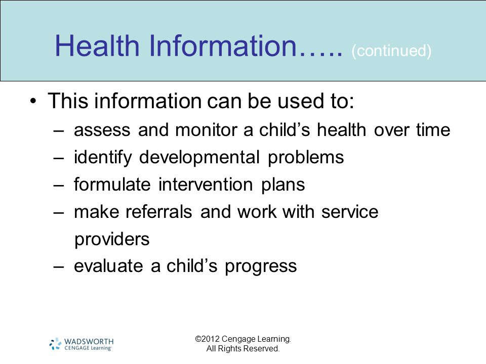 Health Information….. (continued)