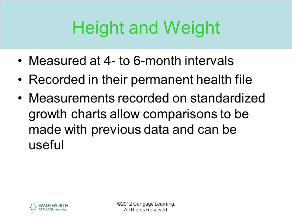 Height and Weight Measured at 4- to 6-month intervals