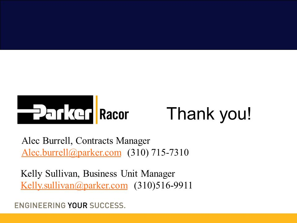 Thank you! Alec Burrell, Contracts Manager