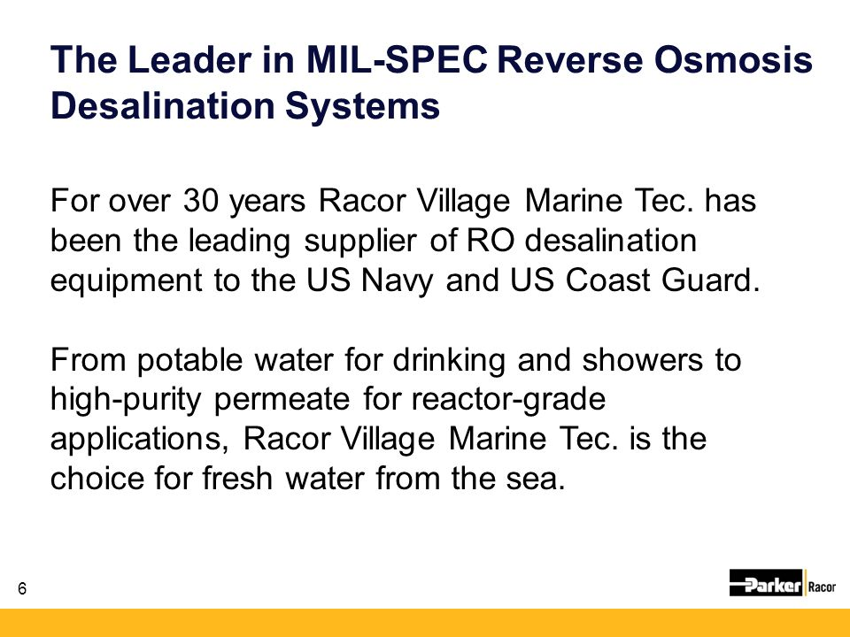 The Leader in MIL-SPEC Reverse Osmosis Desalination Systems