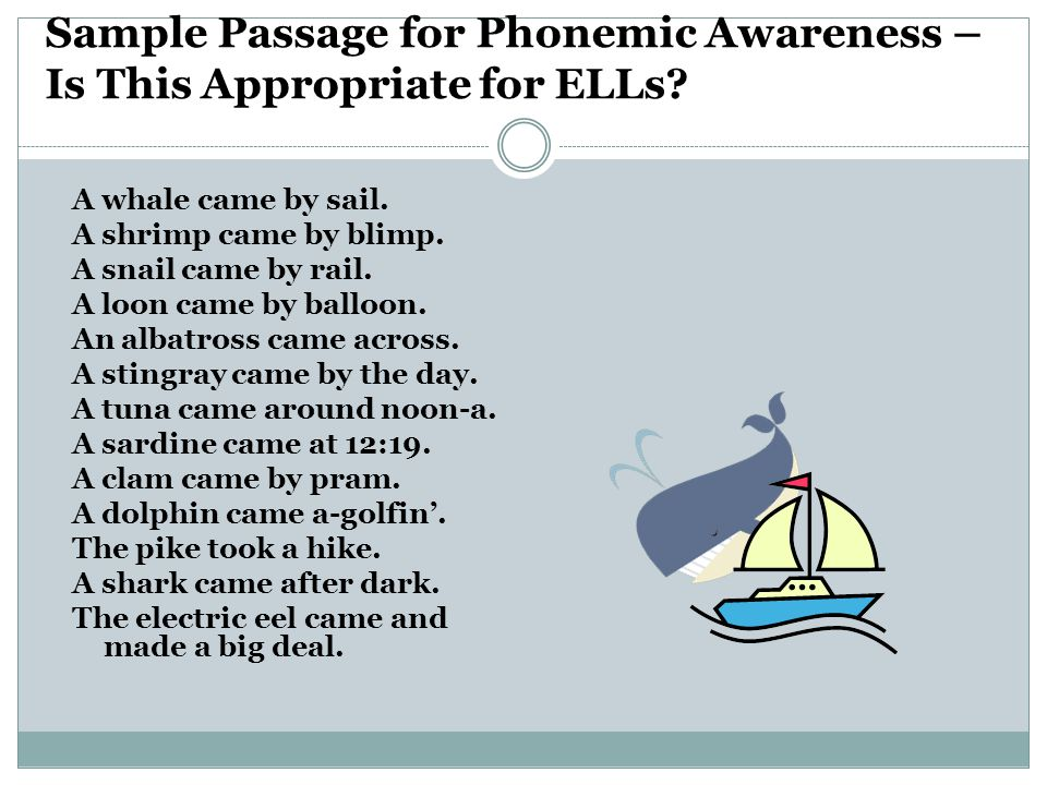 Sample Passage for Phonemic Awareness – Is This Appropriate for ELLs