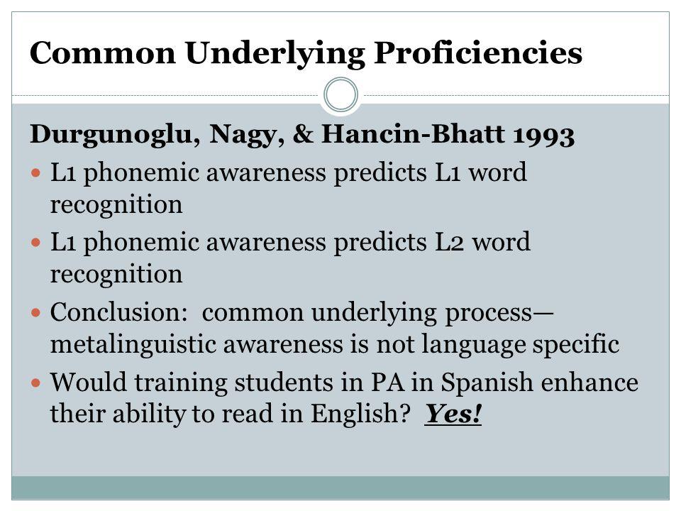 Common Underlying Proficiencies