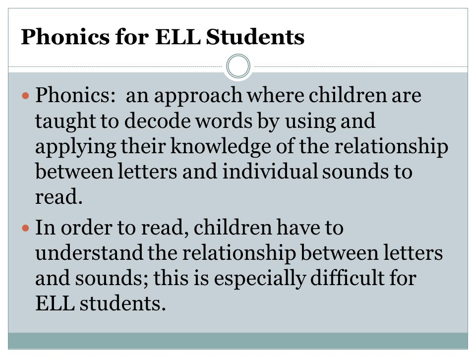Phonics for ELL Students