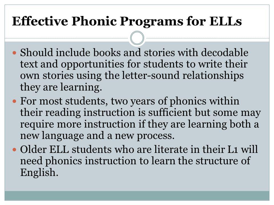 Effective Phonic Programs for ELLs