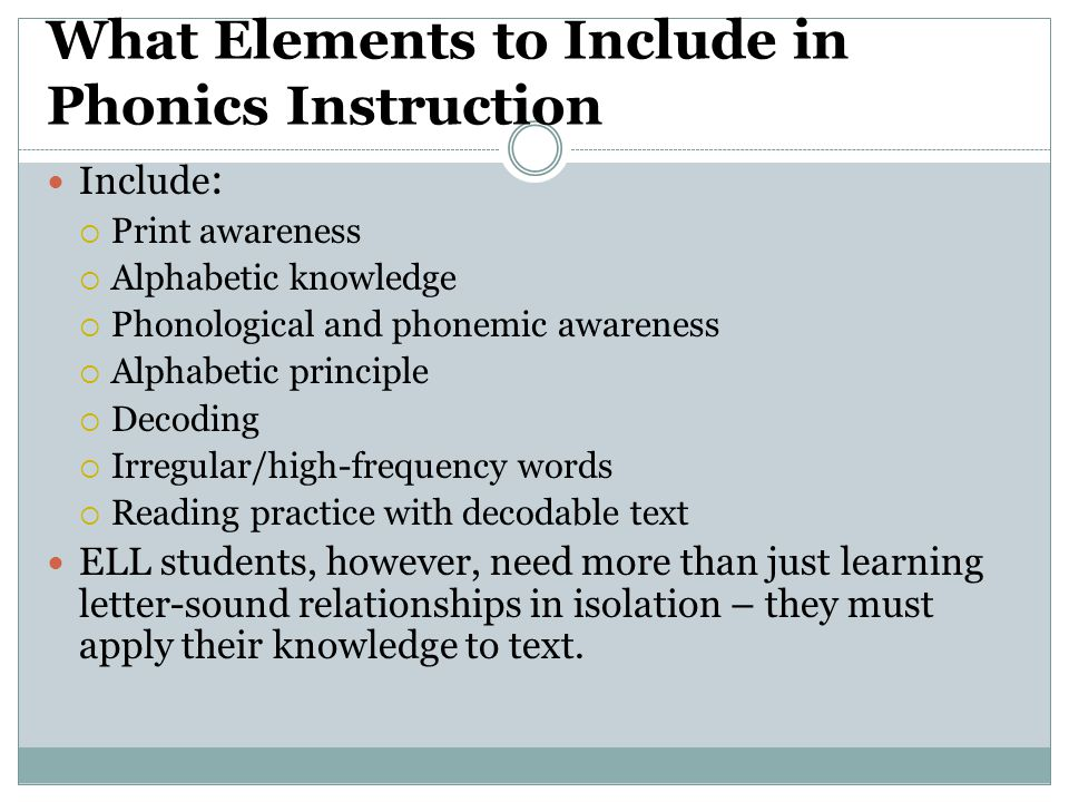 What Elements to Include in Phonics Instruction