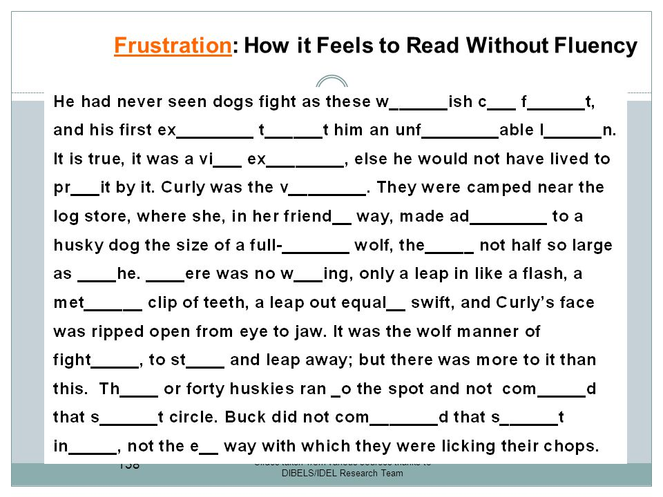 Frustration: How it Feels to Read Without Fluency