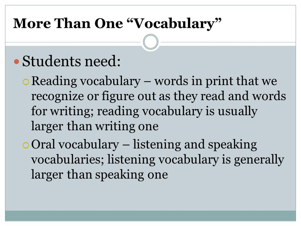 More Than One Vocabulary