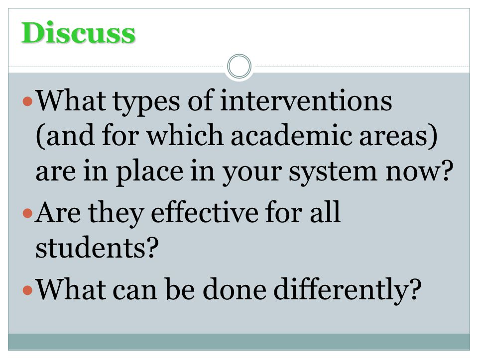 Discuss What types of interventions (and for which academic areas) are in place in your system now