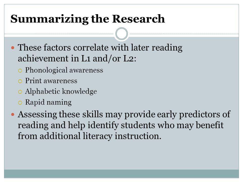 Summarizing the Research