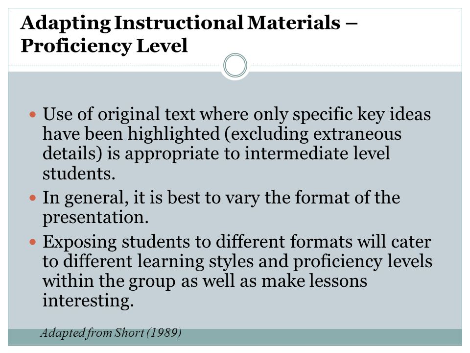 Adapting Instructional Materials – Proficiency Level