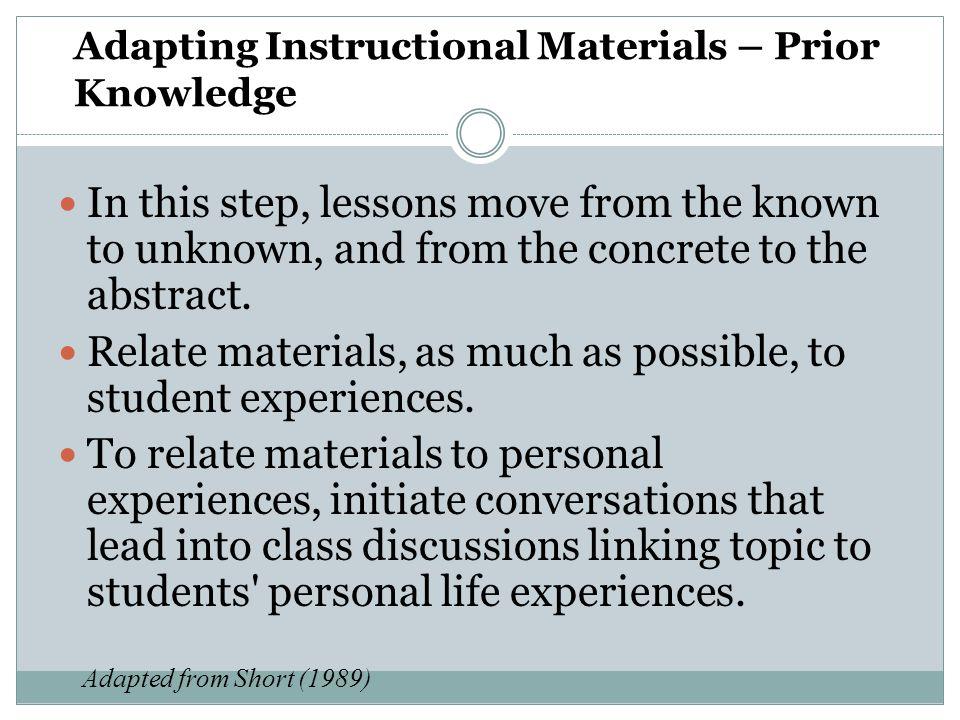 Adapting Instructional Materials – Prior Knowledge
