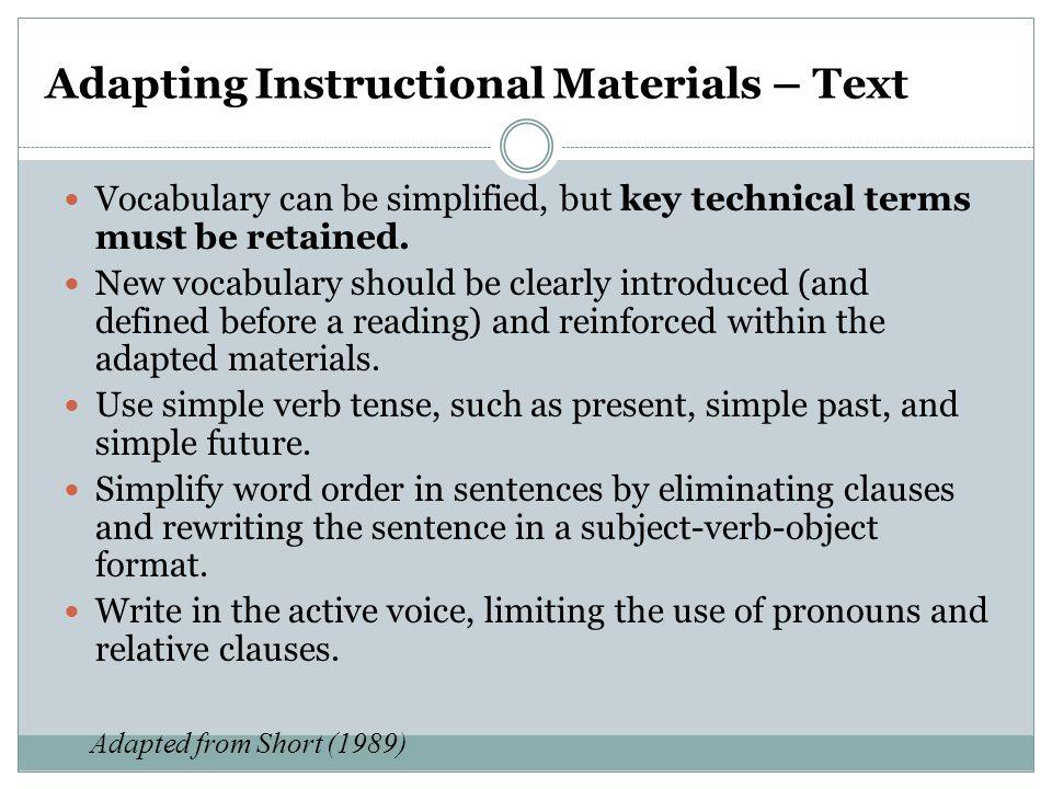 Adapting Instructional Materials – Text