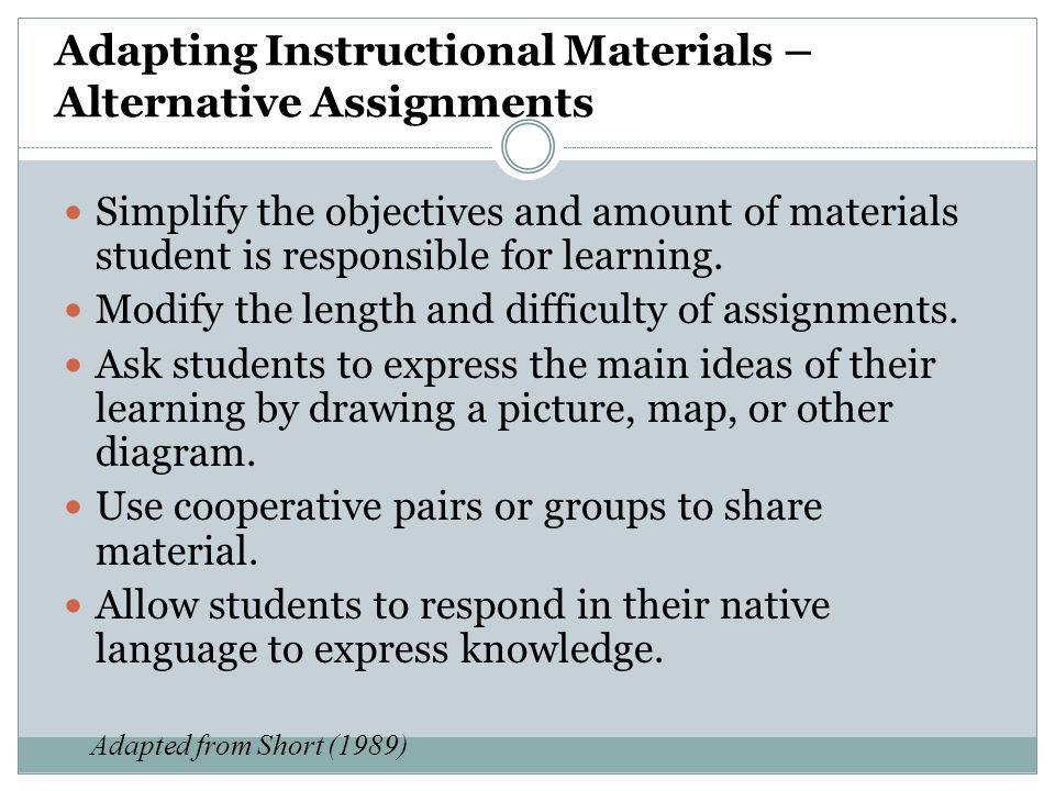 Adapting Instructional Materials – Alternative Assignments
