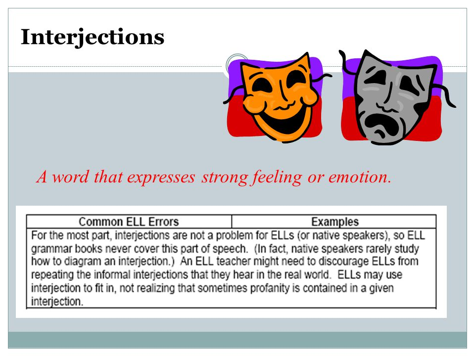 Interjections A word that expresses strong feeling or emotion.