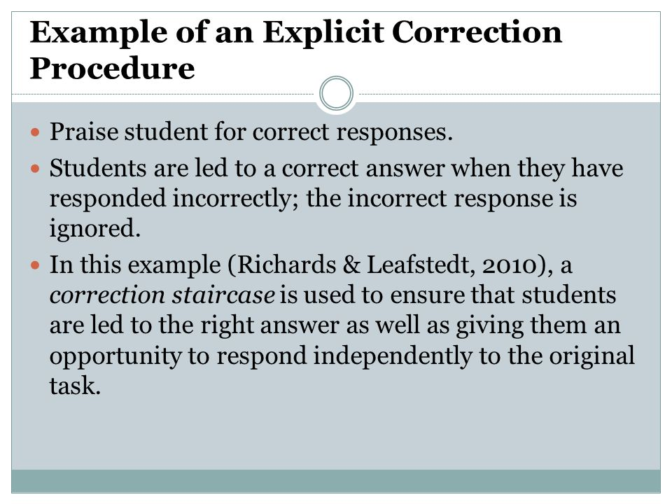 Example of an Explicit Correction Procedure