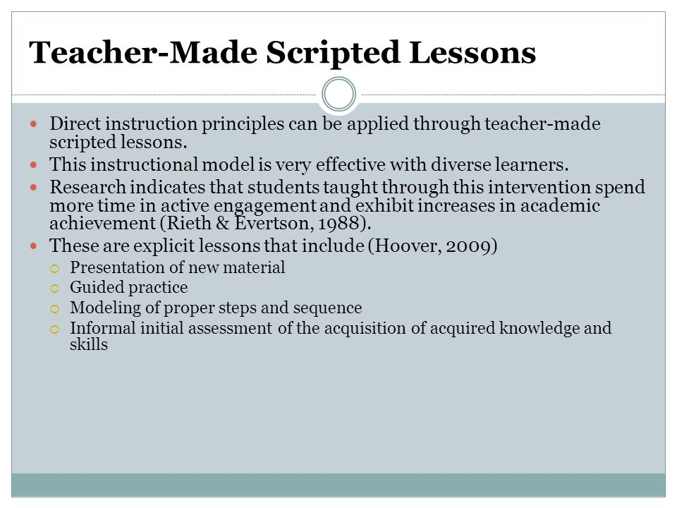 Teacher-Made Scripted Lessons