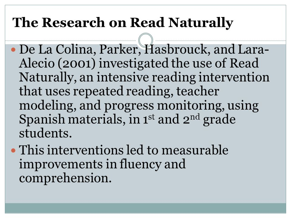 The Research on Read Naturally