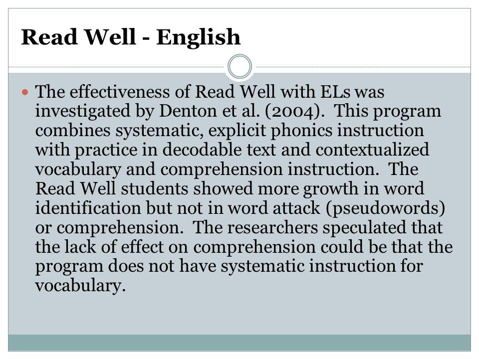 Read Well - English