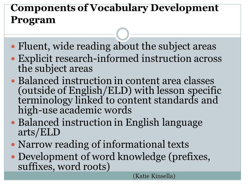 Components of Vocabulary Development Program