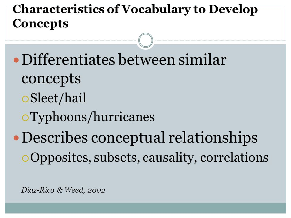 Characteristics of Vocabulary to Develop Concepts
