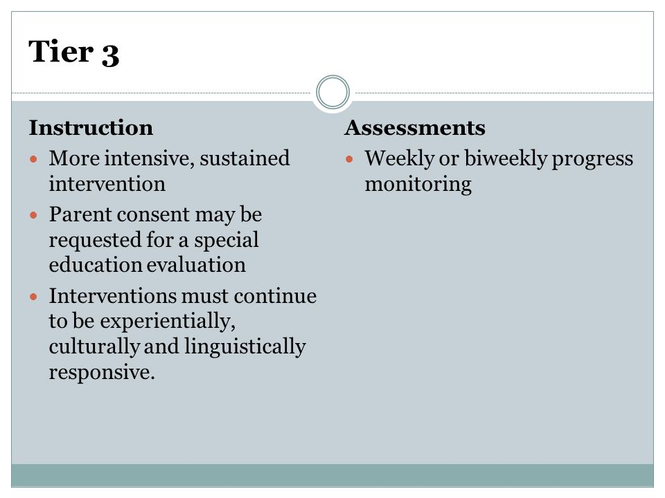 Tier 3 Instruction More intensive, sustained intervention