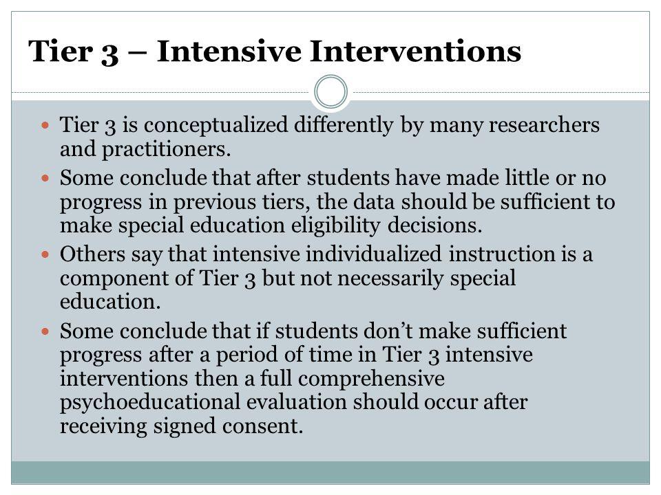 Tier 3 – Intensive Interventions