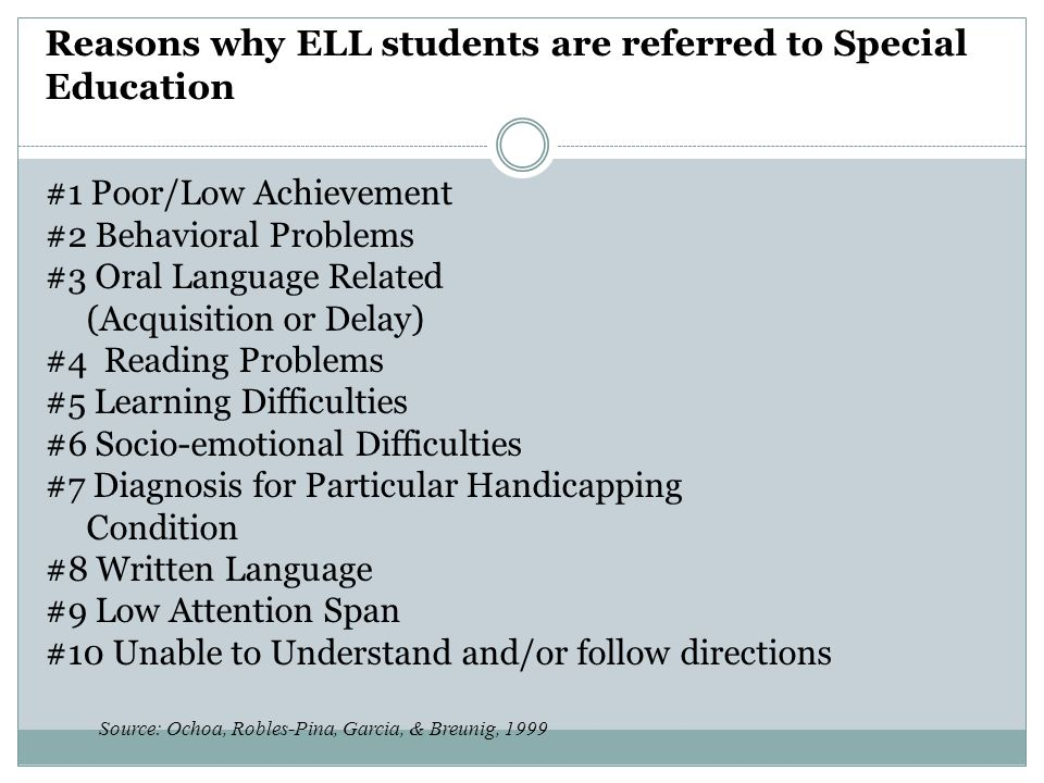 Reasons why ELL students are referred to Special Education