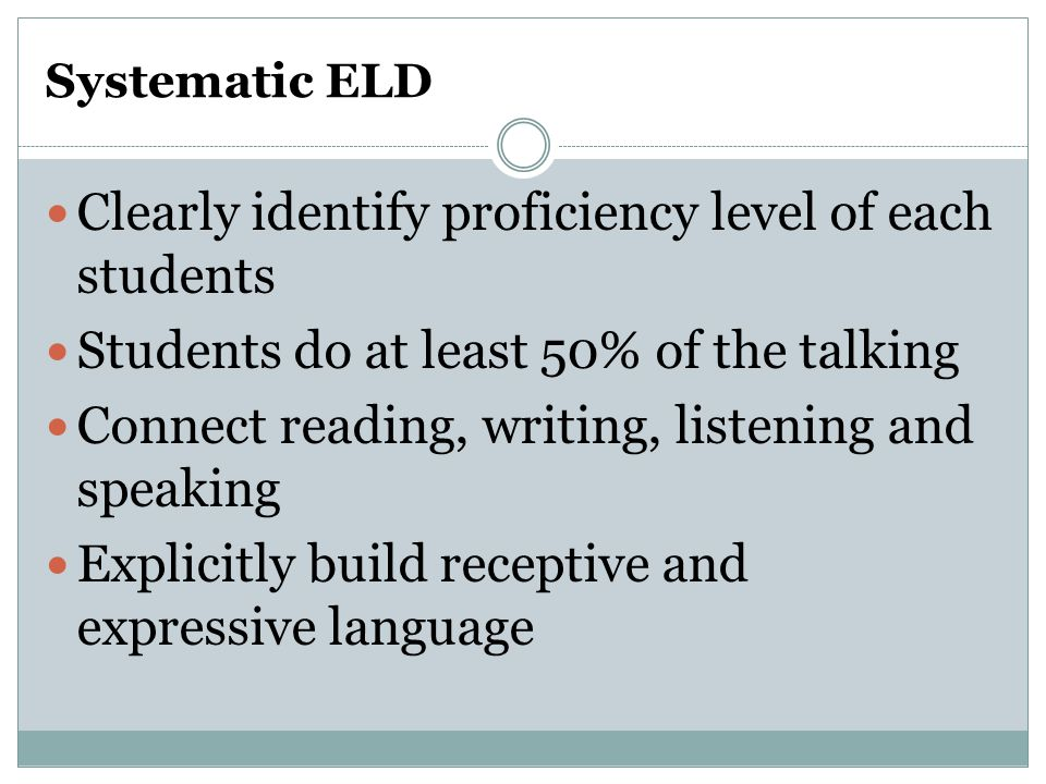 Clearly identify proficiency level of each students