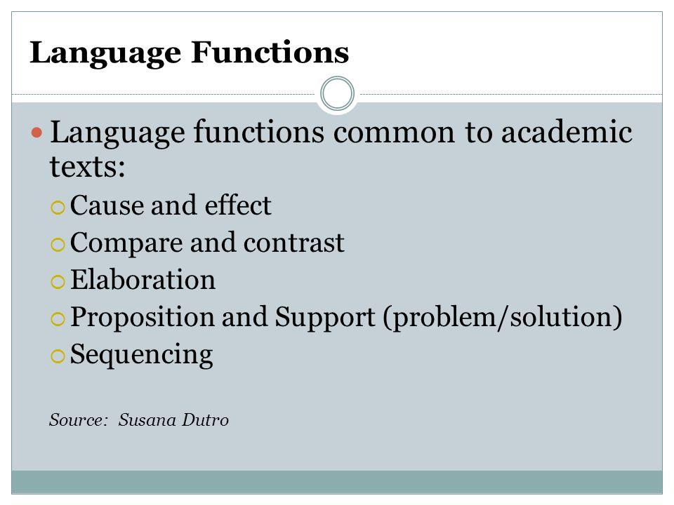Language functions common to academic texts: