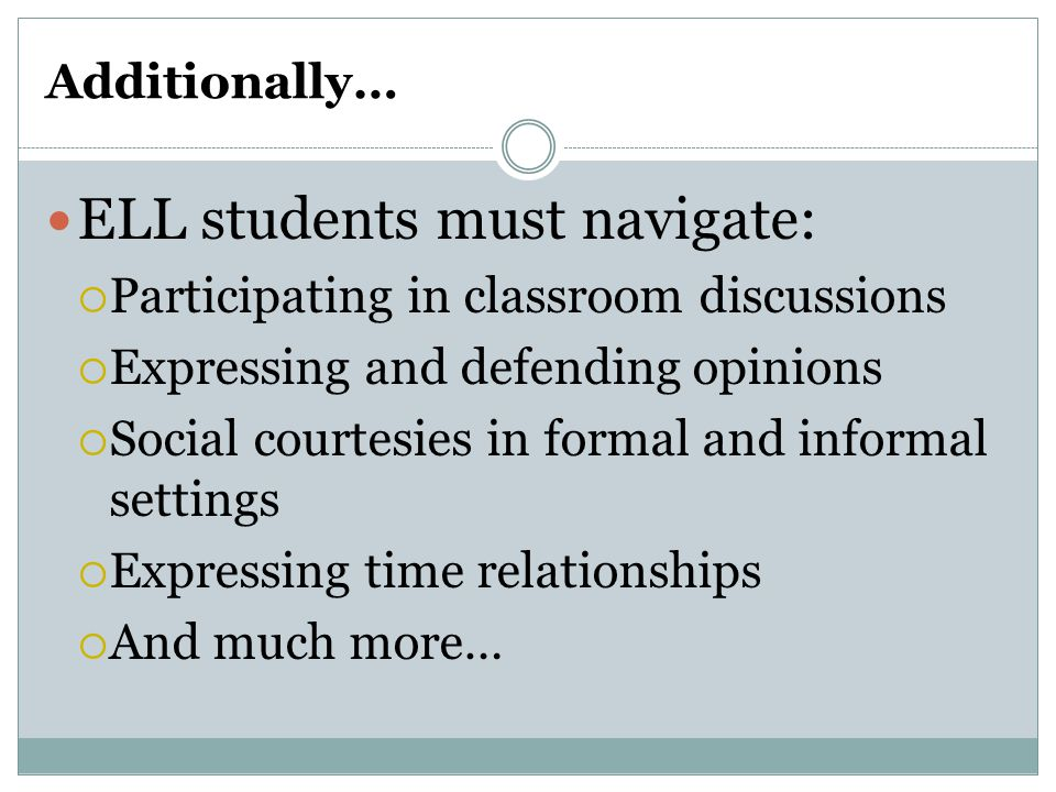 ELL students must navigate:
