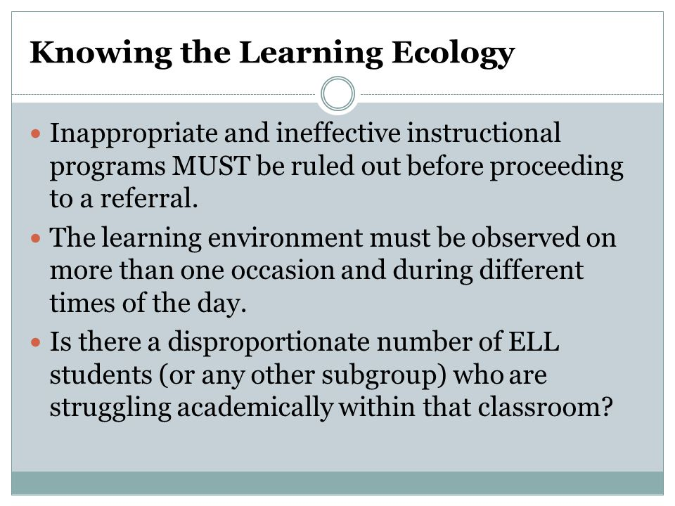 Knowing the Learning Ecology