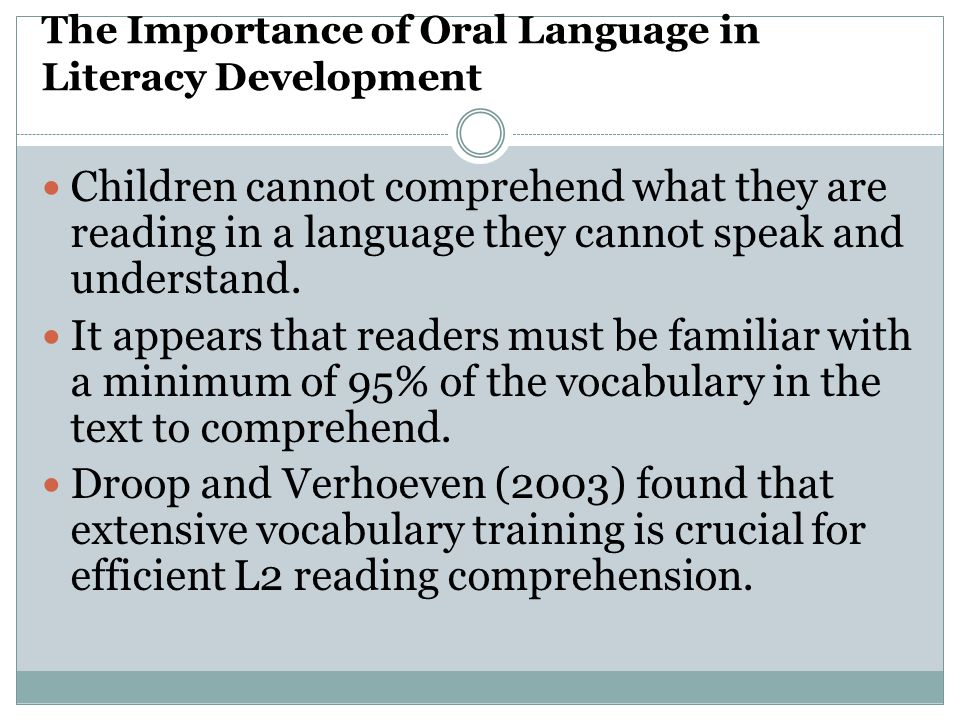 The Importance of Oral Language in Literacy Development
