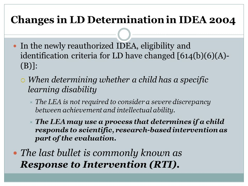 Changes in LD Determination in IDEA 2004