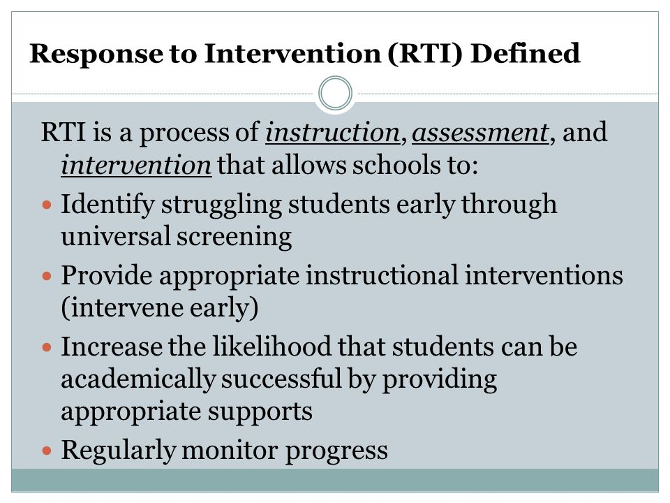 Response to Intervention (RTI) Defined
