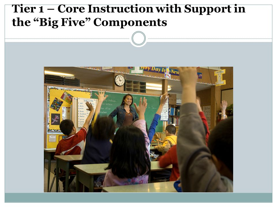Tier 1 – Core Instruction with Support in the Big Five Components