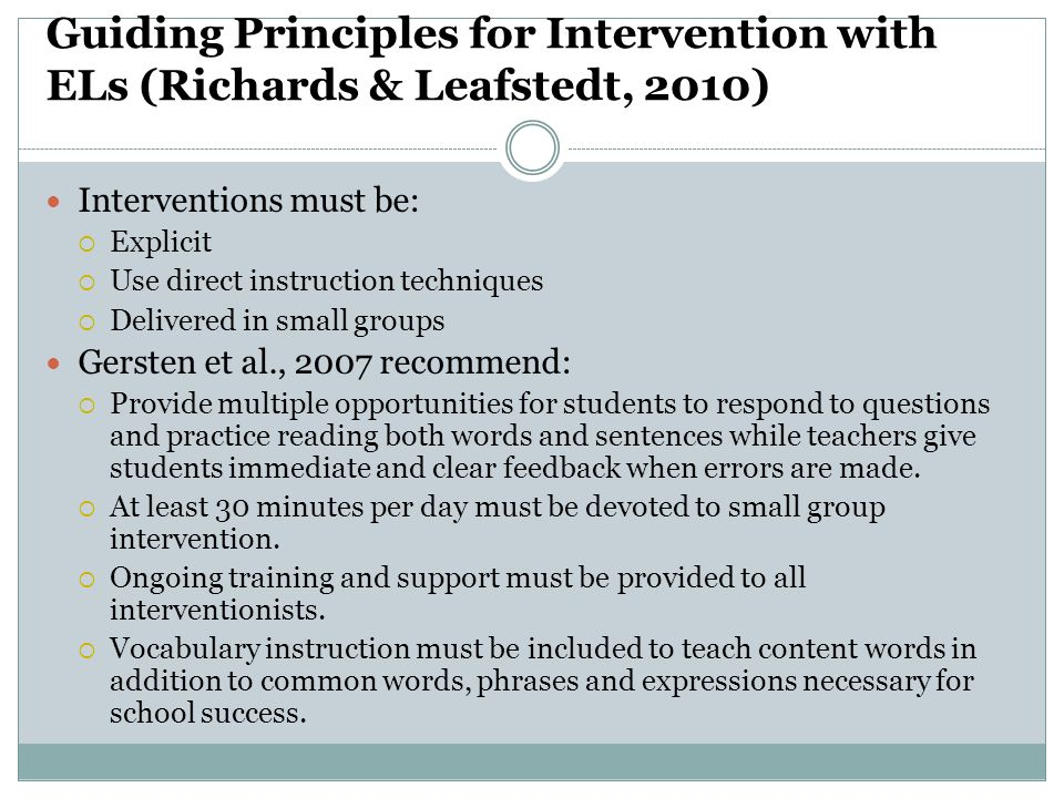 Guiding Principles for Intervention with ELs (Richards & Leafstedt, 2010)