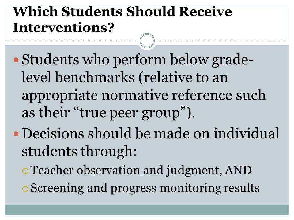 Which Students Should Receive Interventions