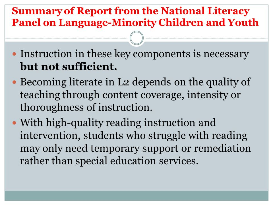 Instruction in these key components is necessary but not sufficient.