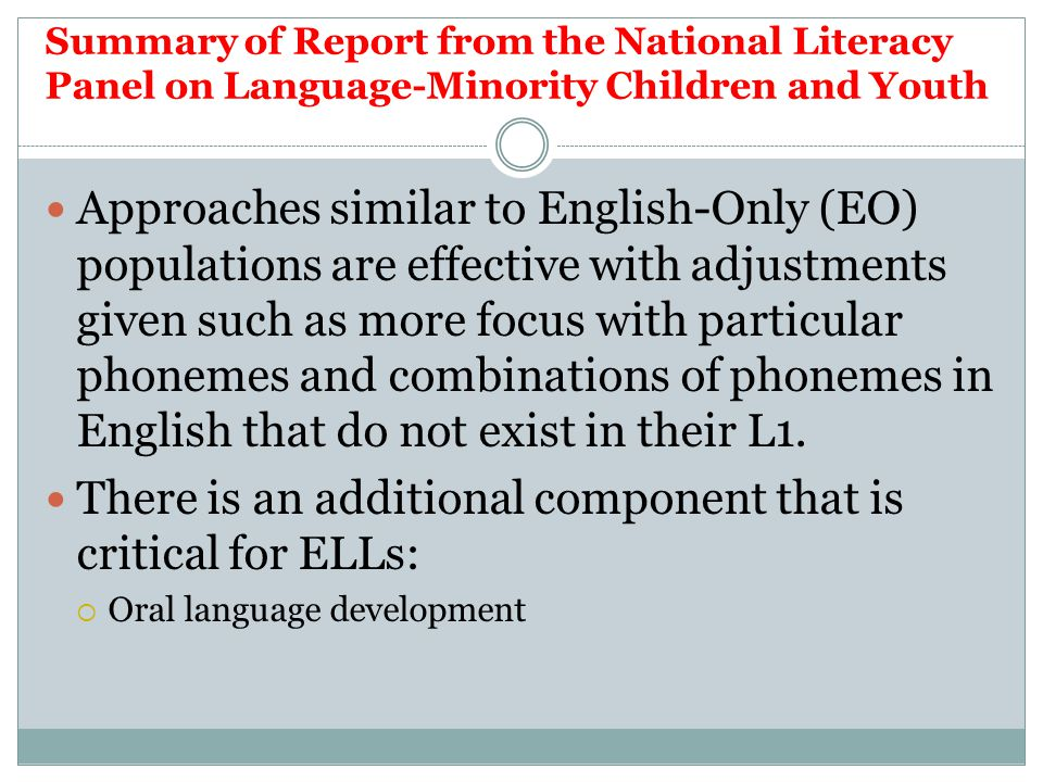 There is an additional component that is critical for ELLs: