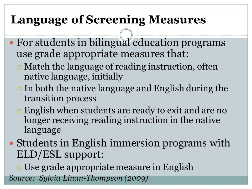 Language of Screening Measures