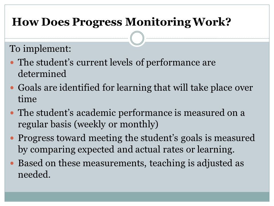How Does Progress Monitoring Work