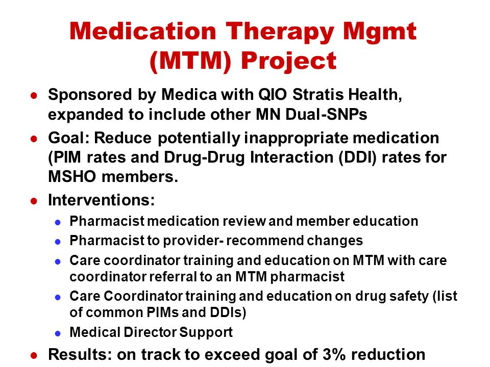 Medication Therapy Mgmt (MTM) Project