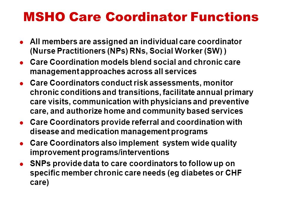 MSHO Care Coordinator Functions