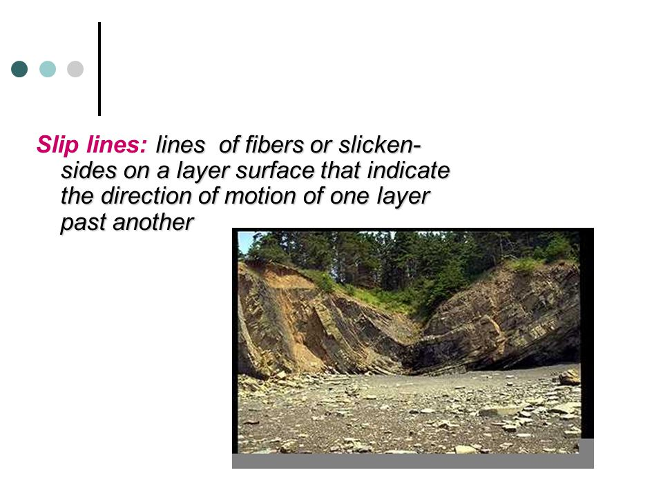 Slip lines: lines of fibers or slicken-sides on a layer surface that indicate the direction of motion of one layer past another