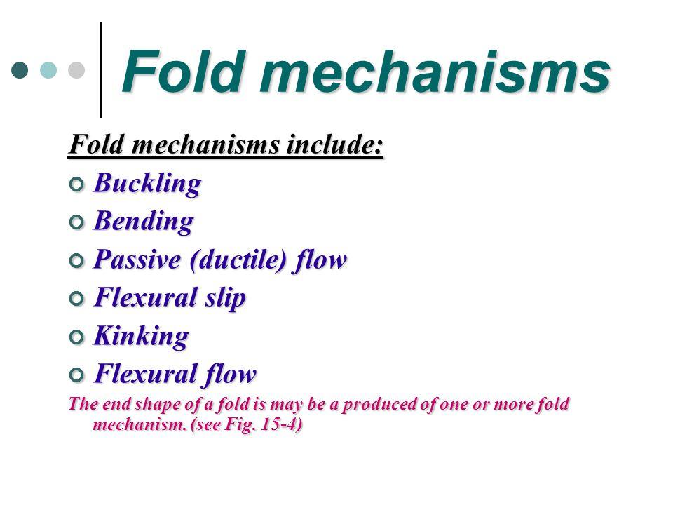 Fold mechanisms Fold mechanisms include: Buckling Bending