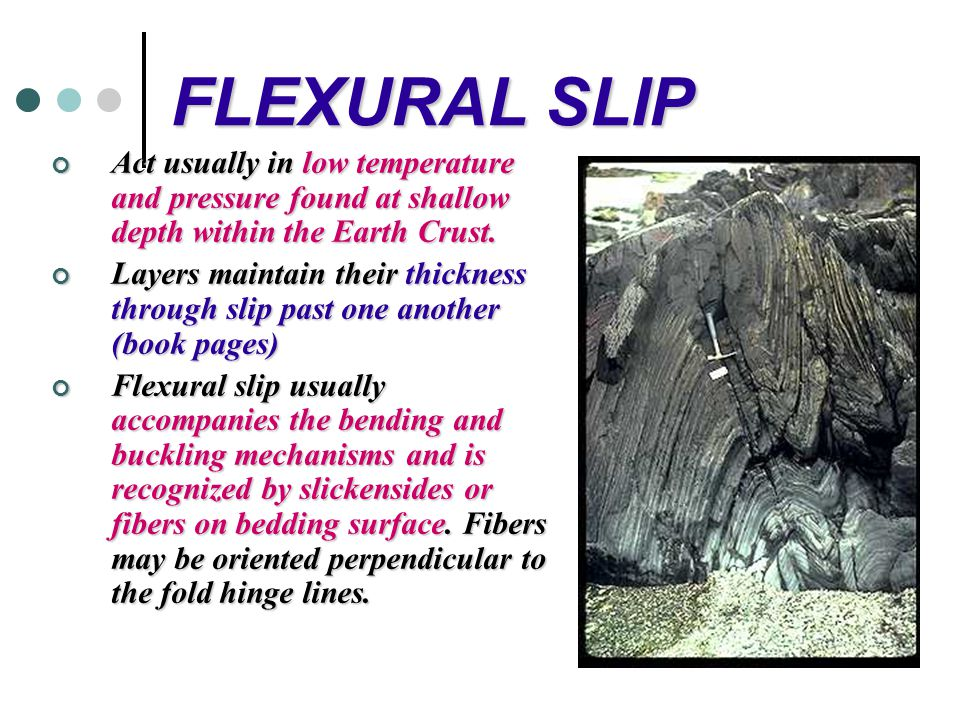 FLEXURAL SLIP Act usually in low temperature and pressure found at shallow depth within the Earth Crust.