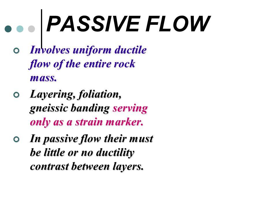 PASSIVE FLOW Involves uniform ductile flow of the entire rock mass.