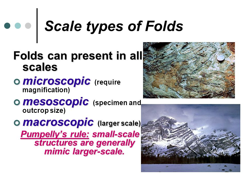 Scale types of Folds Folds can present in all scales