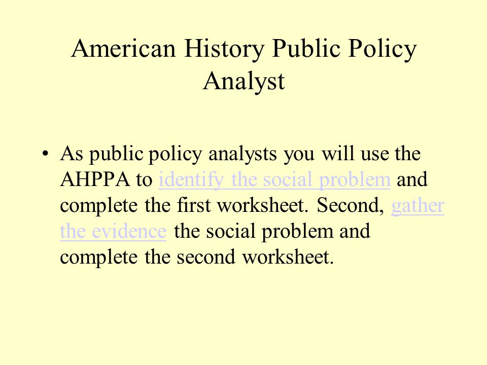 American History Public Policy Analyst