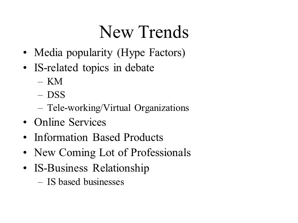 New Trends Media popularity (Hype Factors) IS-related topics in debate